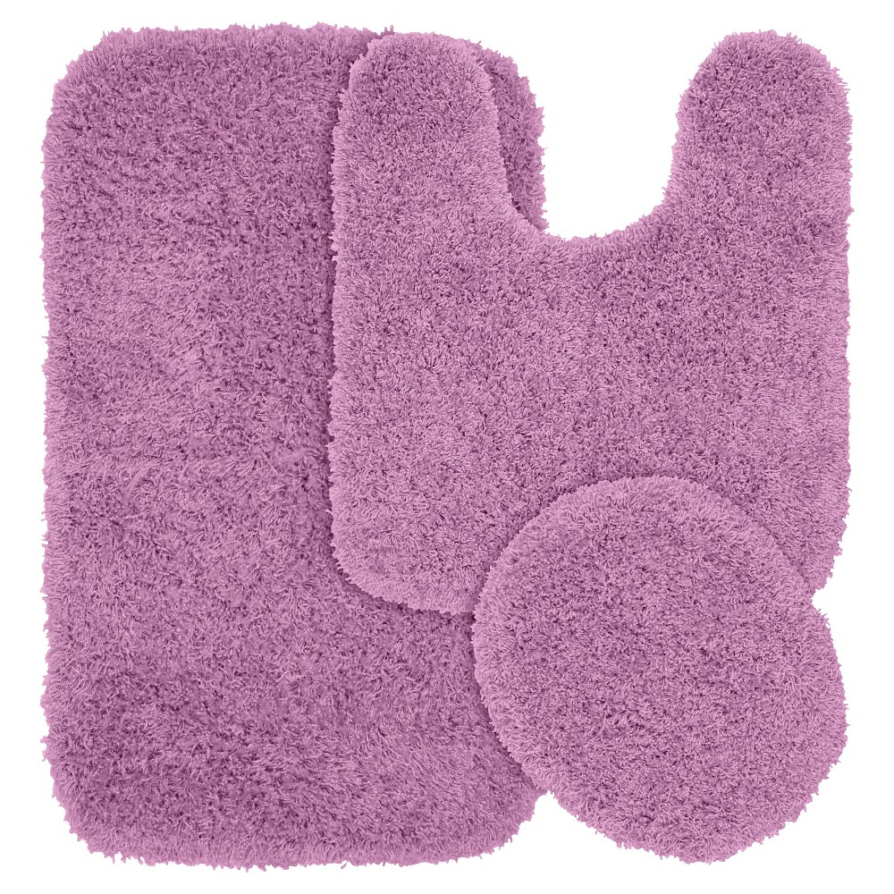 3pc Jazz Shaggy Washable Nylon Bath Rug Set Purple - Garland from Garland Rug