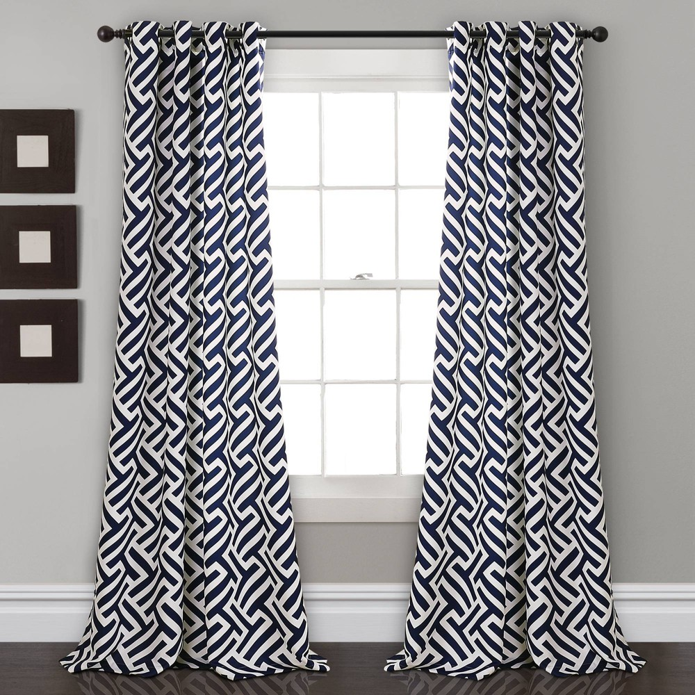 "Set fo 2 52""x84"" Giovana Room Darkening Window Curtain Panels Navy - Lush Décor, Adult Unisex, Blue"