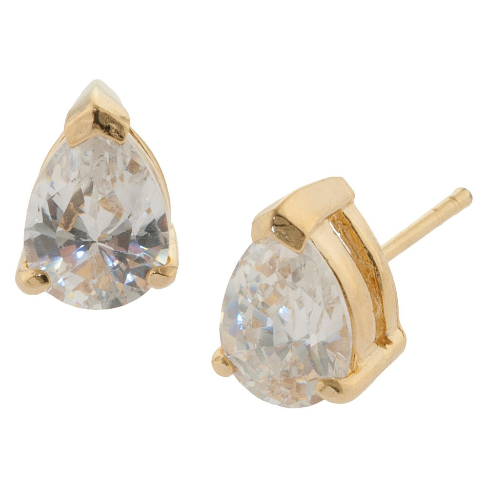 Gold over Sterling Silver Pear Shape Cubic Zirconia Stud Earrings from Distributed by Target