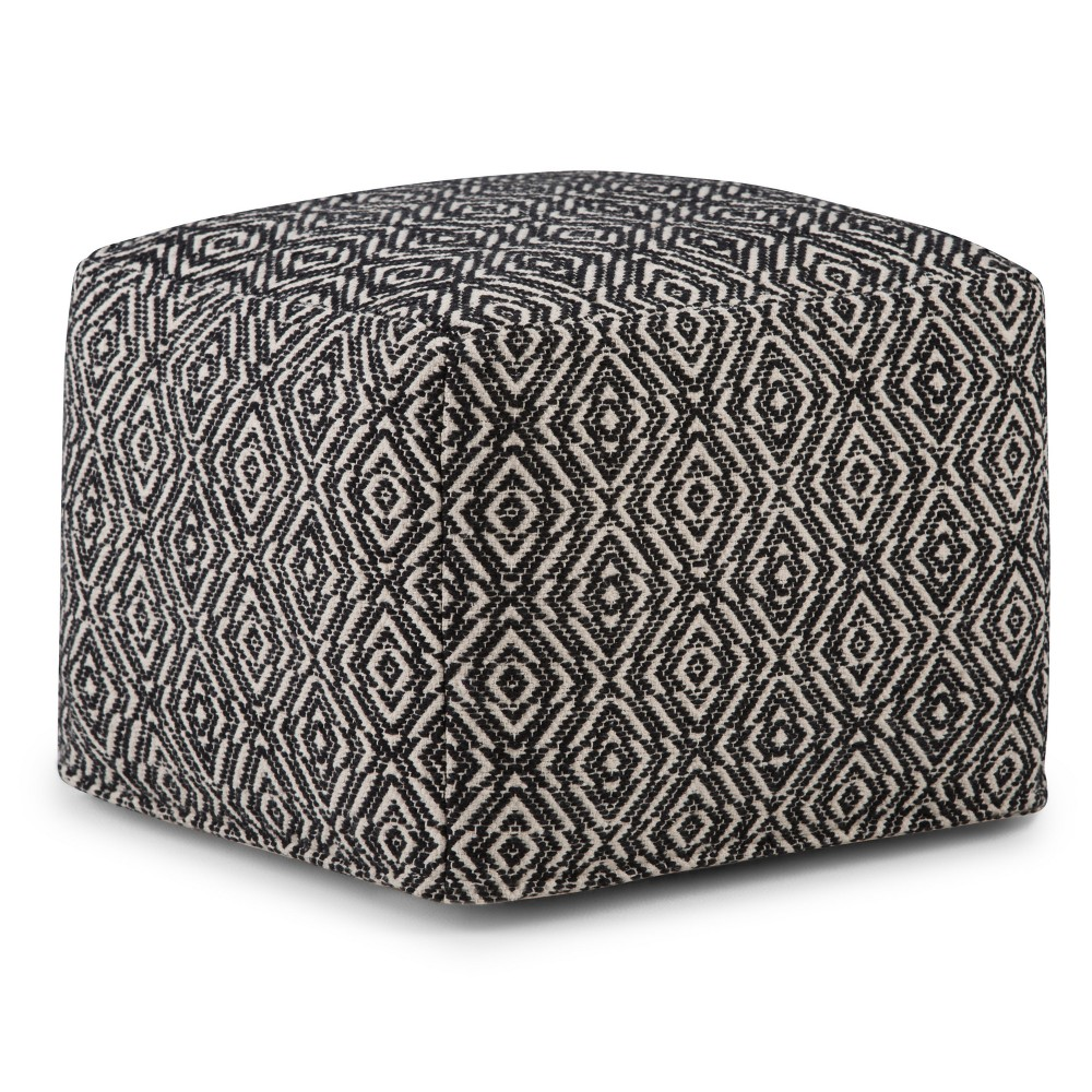 Wentworth Square Moroccan Inspired Pouf Black/Natural - WyndenHall from WyndenHall