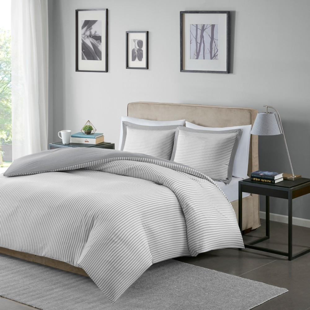 Gray Braydon Reversible Stripe Duvet Cover Mini Set (King/California King)