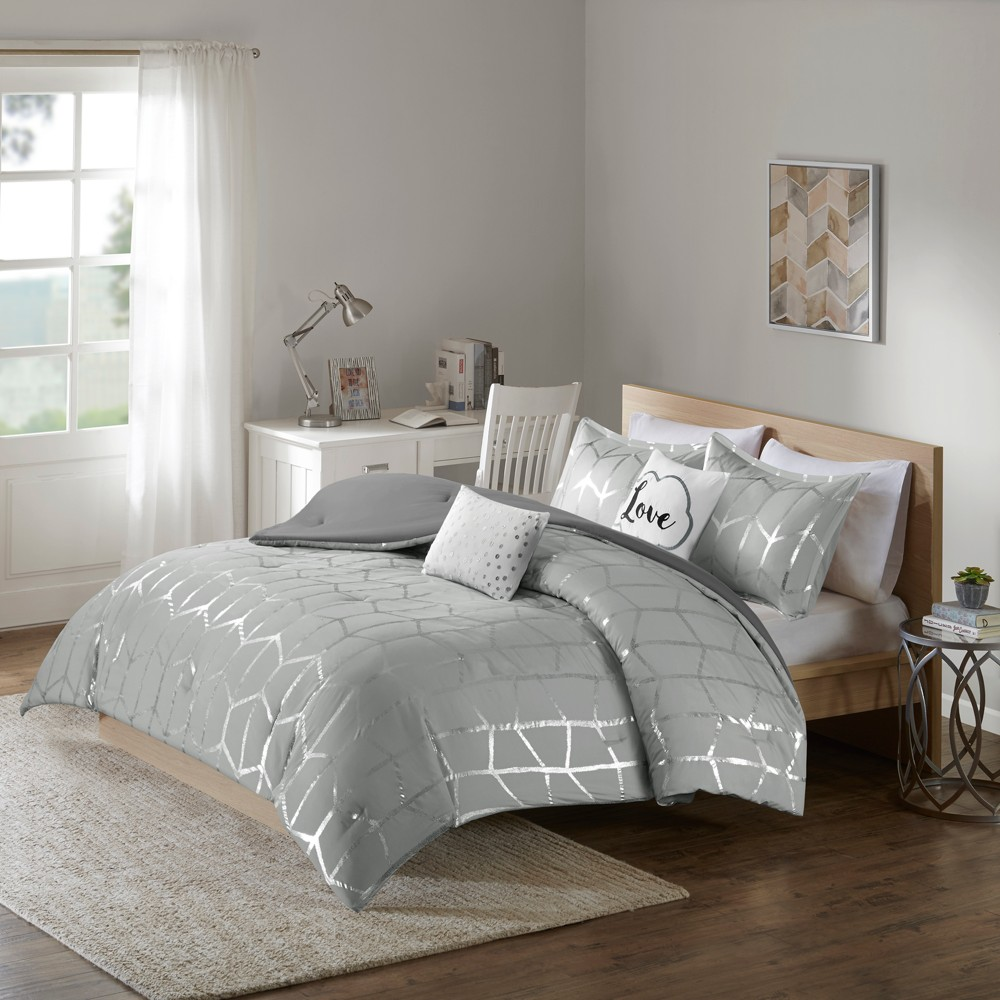 Gray & Silver Arielle Brushed Comforter Set (King/California King) 5pc, Adult Unisex, Gray/Silver