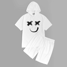 Guys Graffiti Face Drawstring Hoodie & Plain Shorts Set