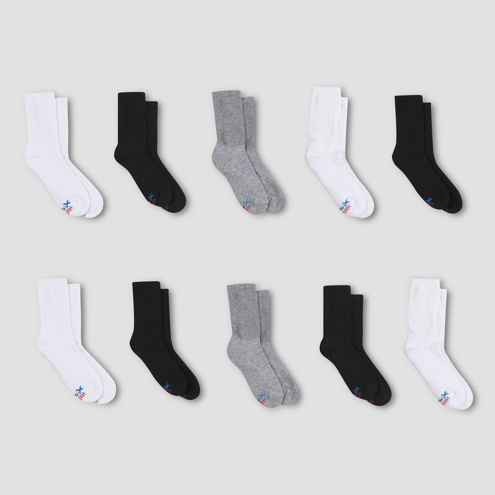 Hanes Boys' X-Temp Crew 10pk Athletic Socks - Color May Vary M from Hanes