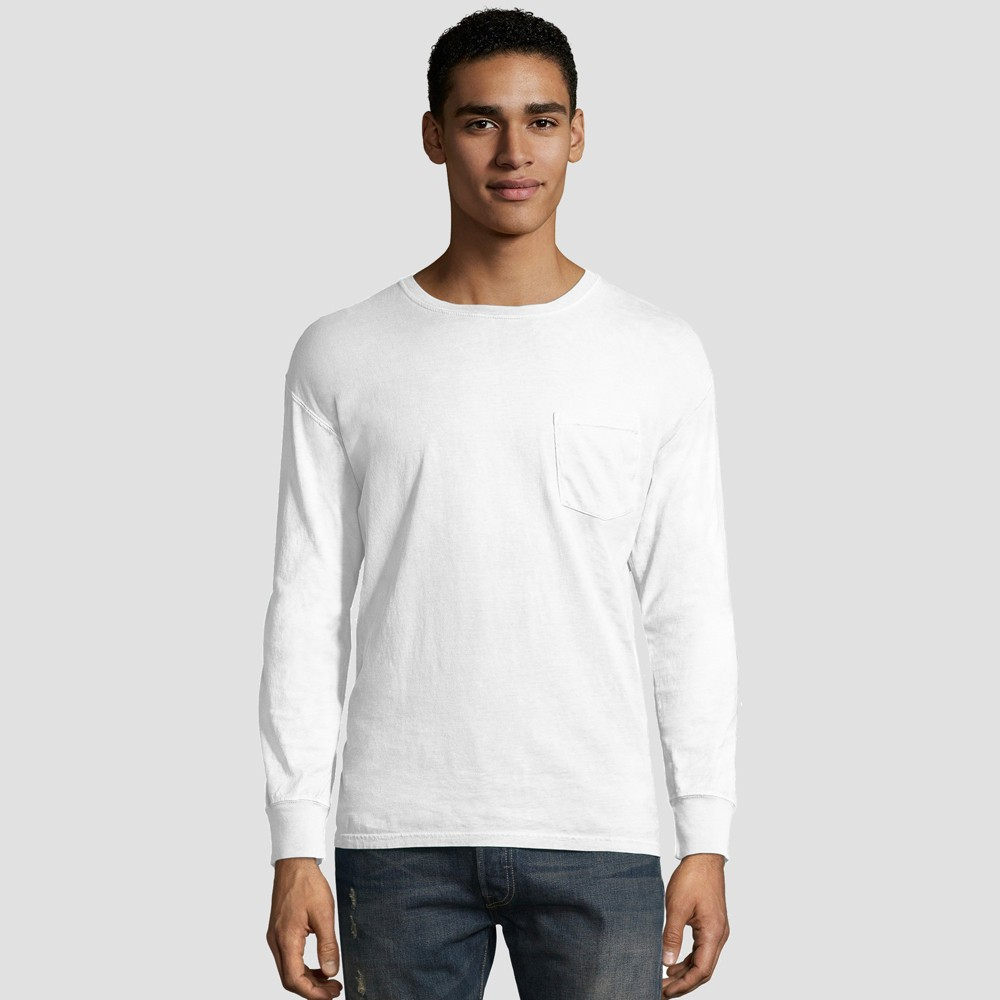 Hanes Men's Big & Tall Long Sleeve 1901 Garment Dyed Pocket T-Shirt - White 3XL from Hanes