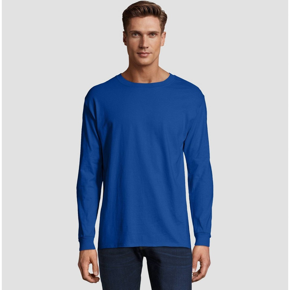 Hanes Men's Long Sleeve Beefy T-Shirt - Deep Blue S from Hanes