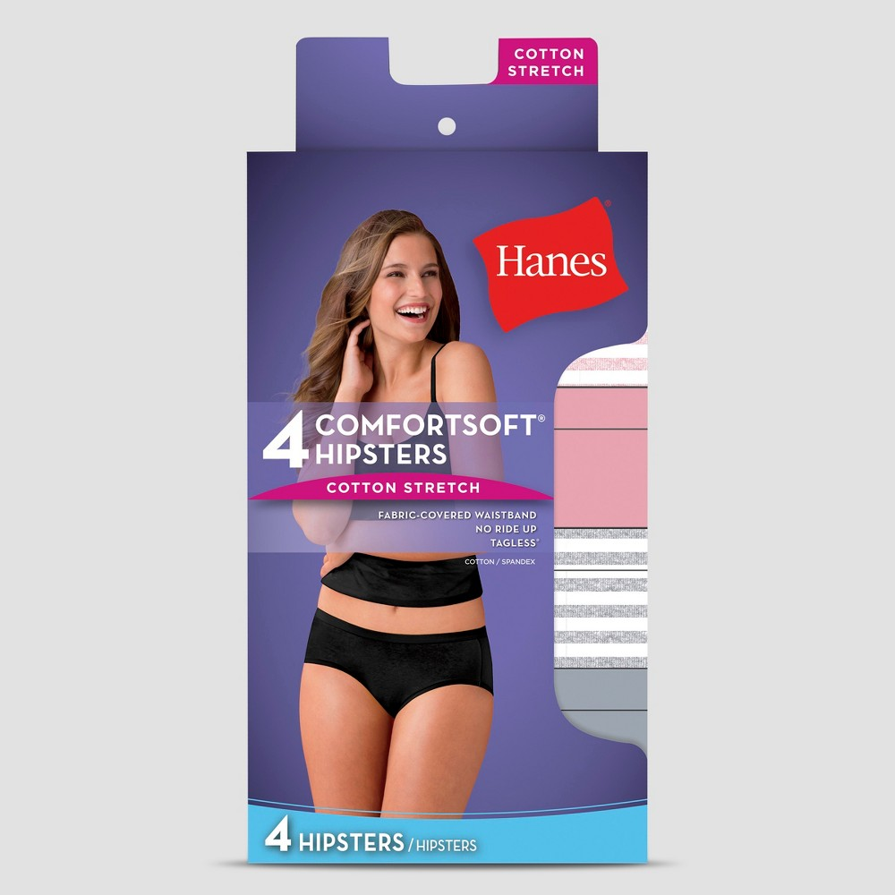Hanes Women's Cotton Stretch 4pk Hipster Underwear Briefs - Colors May Vary 8 from Hanes