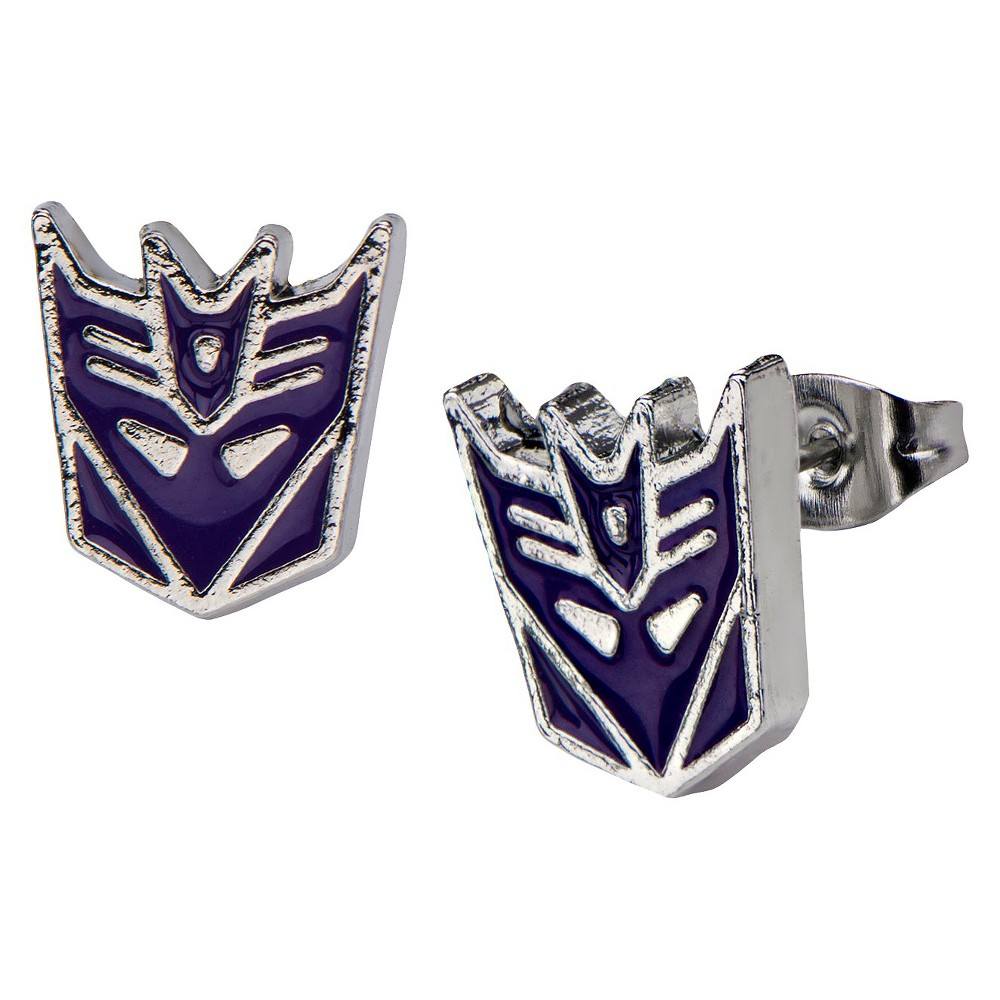 Hasbro Transformers Decepticon Stainless Steel Stud Earrings, Adult Unisex