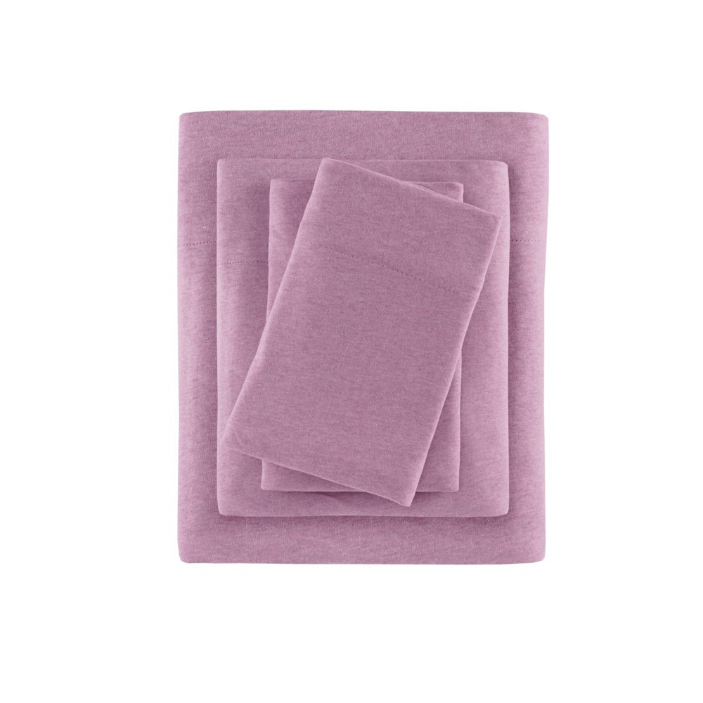 Heathered Cotton Jersey Knit Sheet Set Queen Purple from No Brand