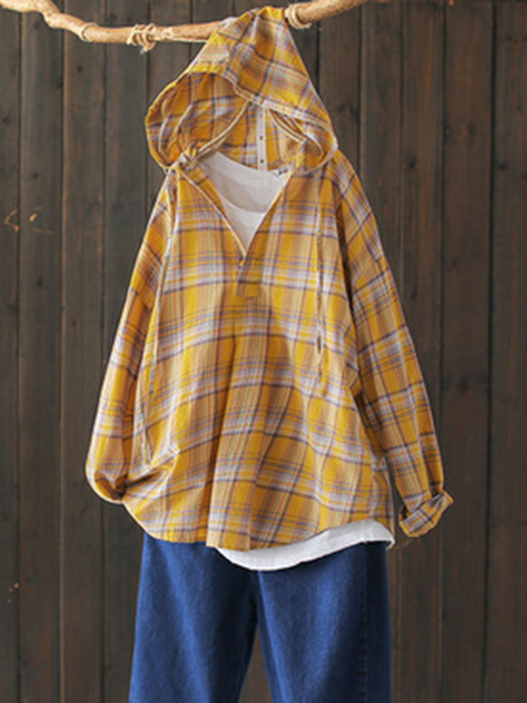 Hooded Plaid Print Button Casual Blouse For Women