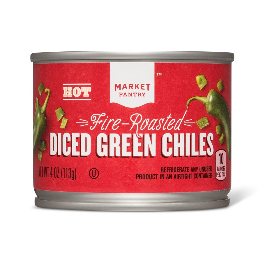 Hot Fire Roasted Diced Green Chiles 4oz - Market Pantry from Market Pantry