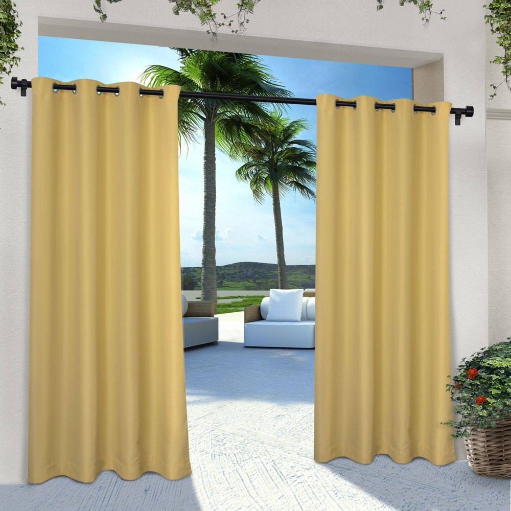 "Indoor/Outdoor Solid Cabana Grommet Top Window Curtain Panel Pair Sundress (54 X 108"") - Exclusive Home, Adult Unisex, Size: 54""x108"""
