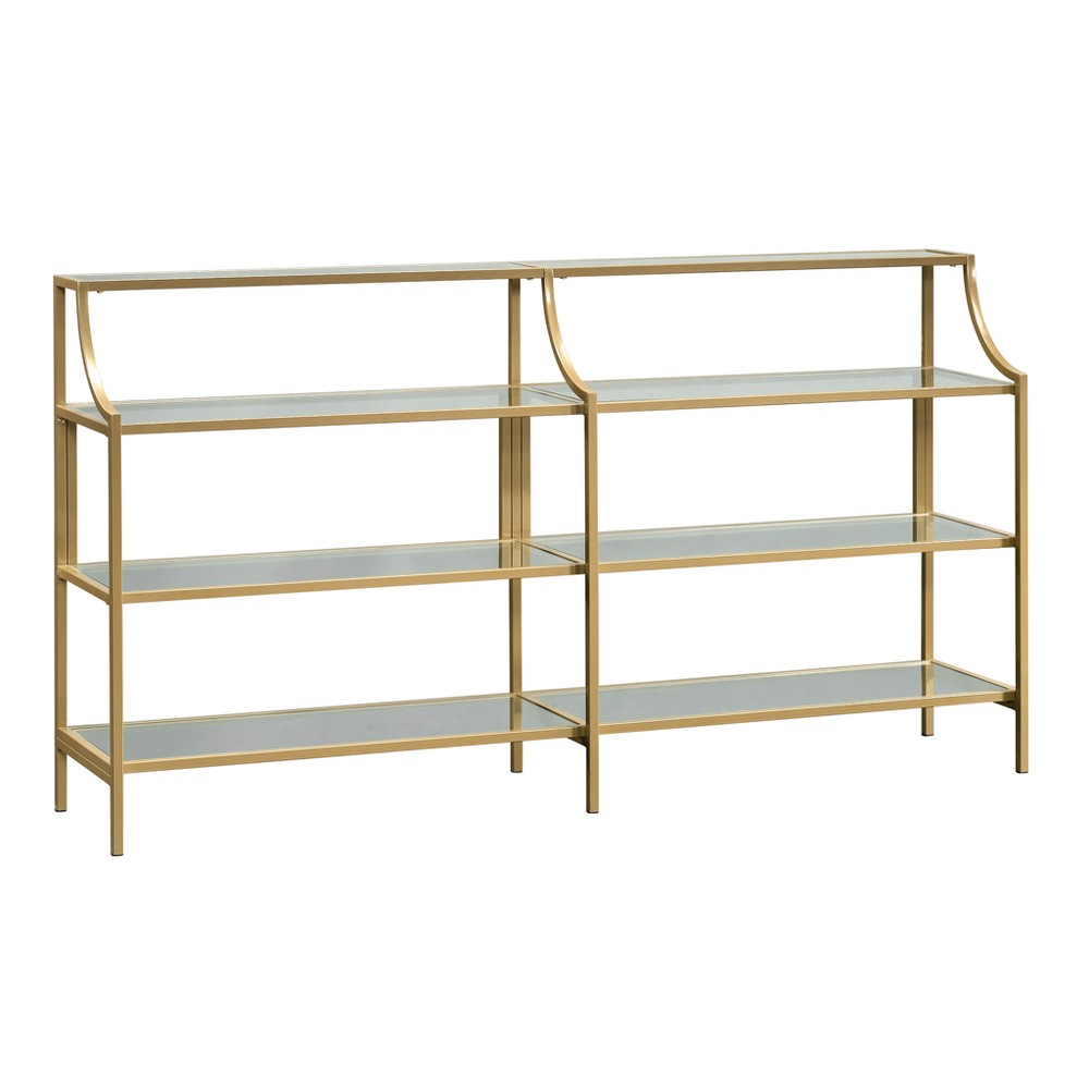 International Luxury Console Table Satin Gold/Clear Glass Finish - Sauder from Sauder