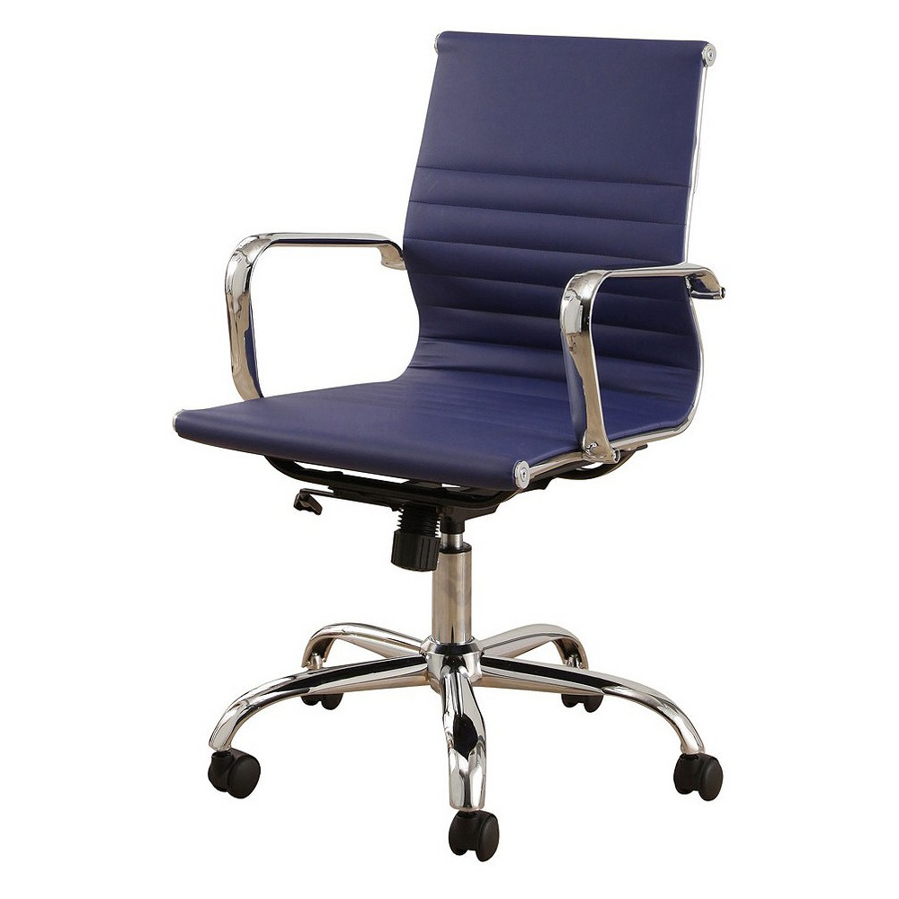 Jackson Silver Finish Leather Office Chair - Navy Blue - Abbyson