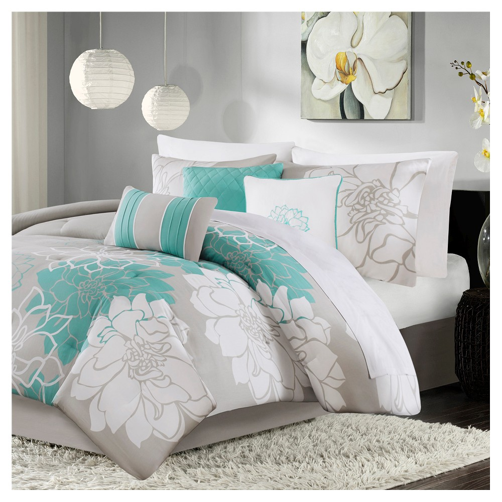 Jane Floral Print Comforter Set (California King) Aqua - 7pc from No Brand