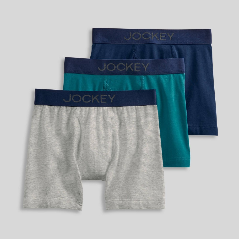 Jockey Generation Boys' 3pk Cotton Stretch Boxer Briefs - Navy/Gray/Magnolia M from Jockey Generation
