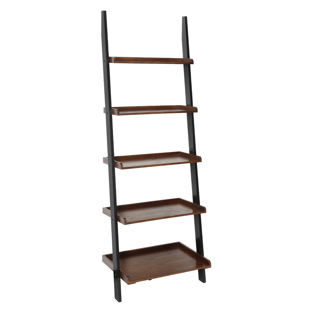 "72"" French Country Bookshelf Ladder Dark Walnut/Black - Breighton Home from Breighton Home"