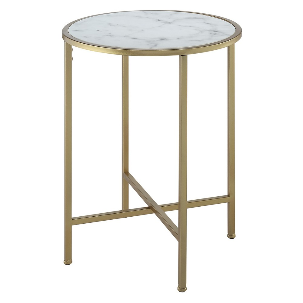 Gold Coast Faux Marble Round End Table Gold/Faux Marble - Breighton Home from Breighton Home