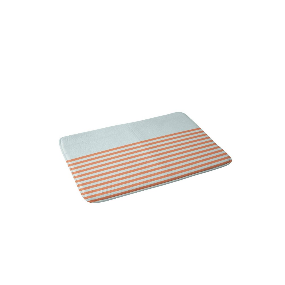 June Journal Beach Striped Memory Foam Bath Mat Blue/Orange - Deny Designs from Deny Designs
