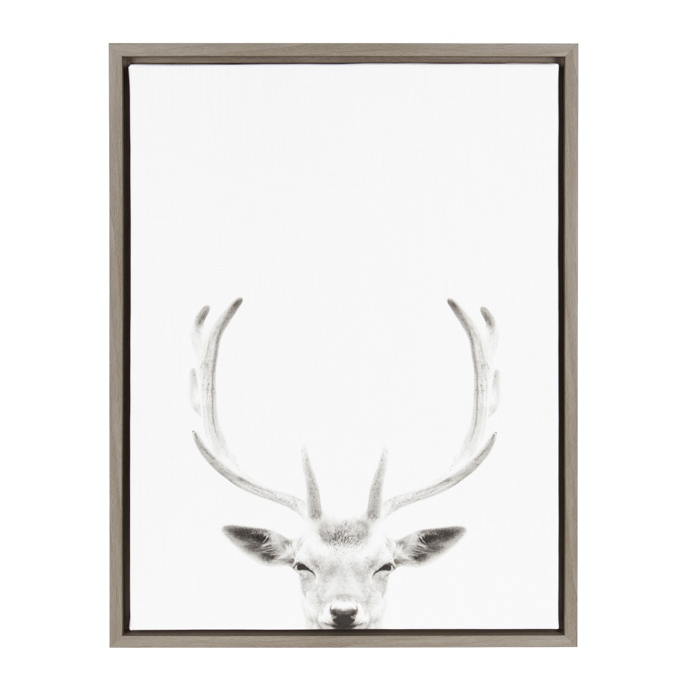 "18"" x 24"" Sylvie Deer Portrait Framed Canvas by Simon Te Tai Gray - Kate and Laurel from Kate & Laurel All Things Decor"