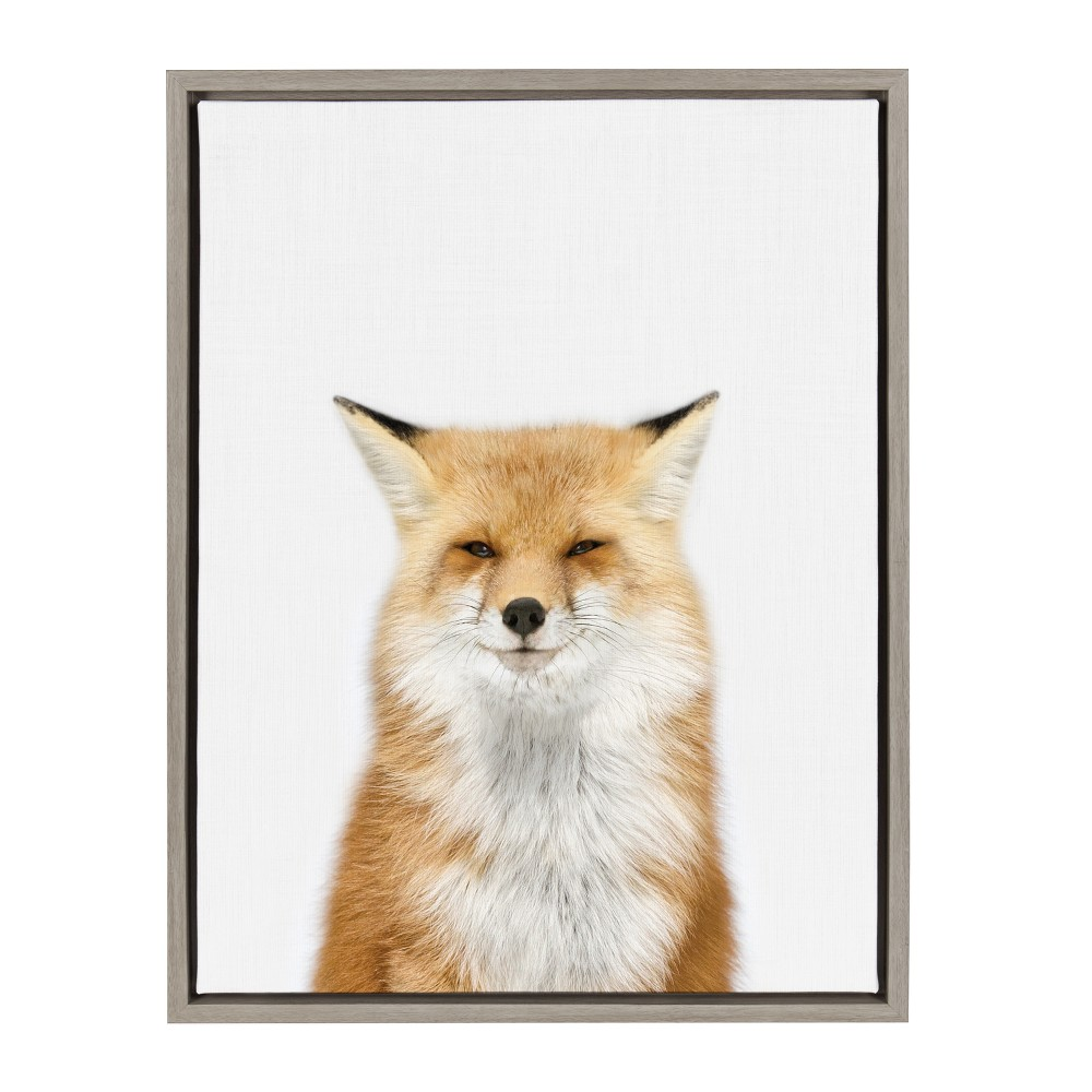 "18"" x 24"" Sylvie Young Fox Framed Canvas by Amy Peterson Gray - Kate and Laurel from Kate & Laurel All Things Decor"