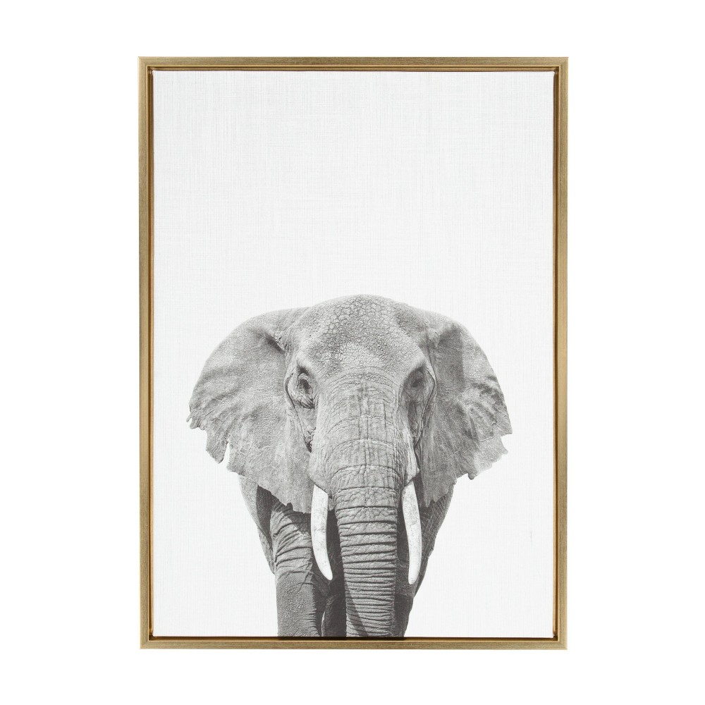 "23"" x 33"" Sylvie Elephant Framed Canvas by Simon Te Tai Gold - Kate and Laurel from Kate & Laurel All Things Decor"