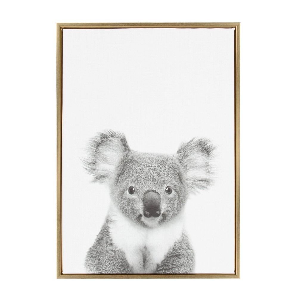 "23"" x 33"" Sylvie Koala Framed Canvas by Simon Te Tai Gold - Kate and Laurel from Kate & Laurel All Things Decor"