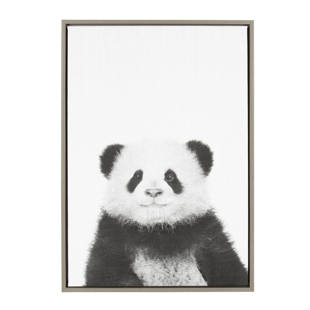 "23"" x 33"" Sylvie Panda Framed Canvas by Simon Te Tai Gray - Kate and Laurel from Kate & Laurel All Things Decor"