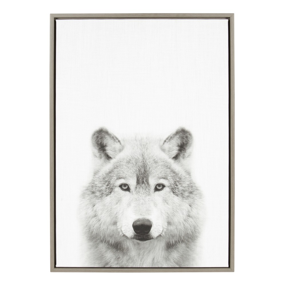 "23"" x 33"" Sylvie Wolf Framed Canvas by Simon Te Tai Gray - Kate and Laurel from Kate & Laurel All Things Decor"