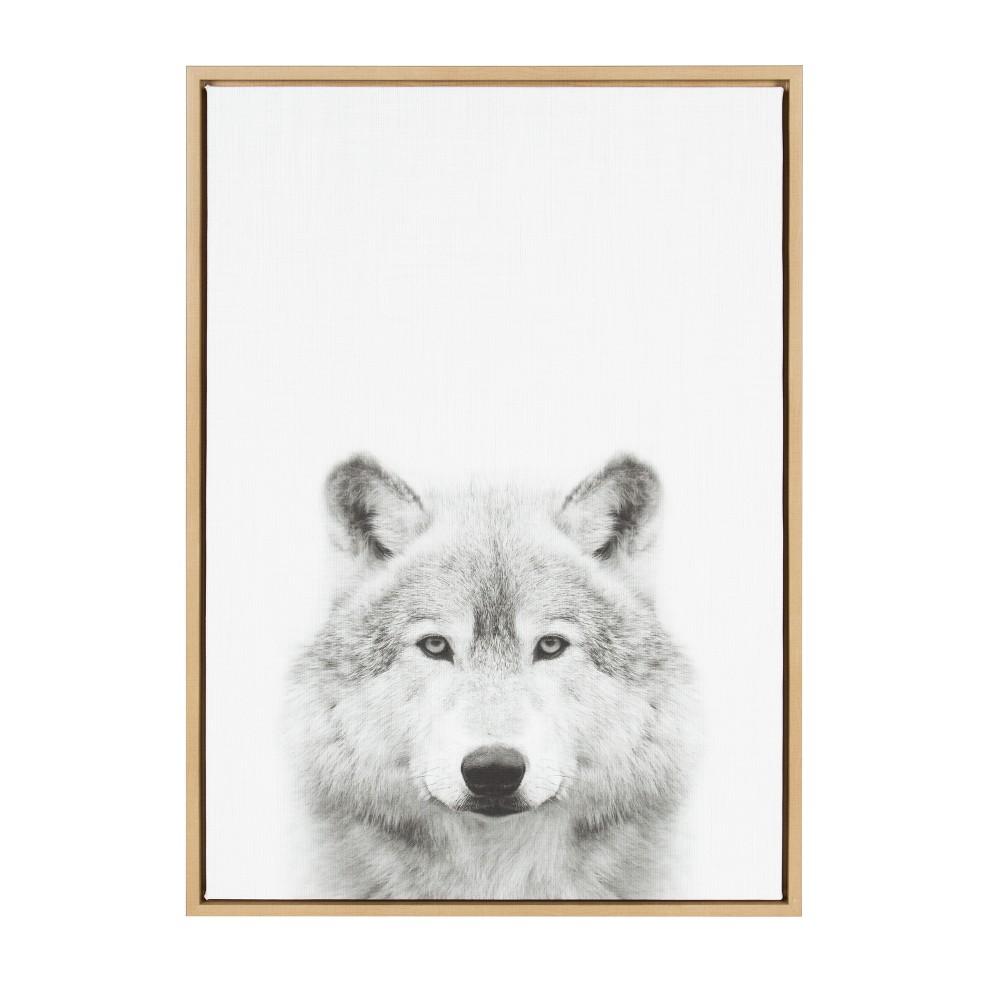 "23"" x 33"" Sylvie Wolf Framed Canvas by Simon Te Tai Natural - Kate and Laurel from Kate & Laurel All Things Decor"