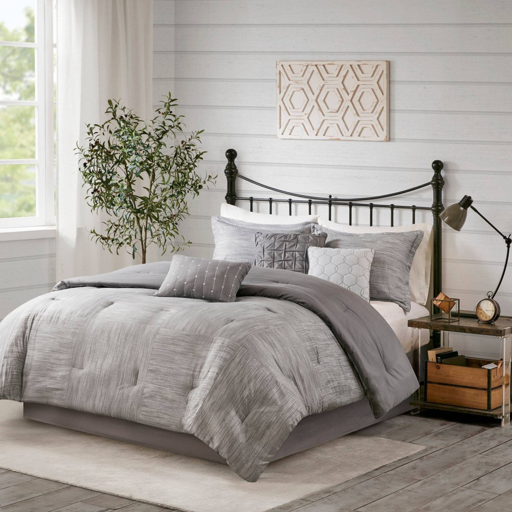 Kelan King 7pc Printed Seersucker Comforter Set Gray