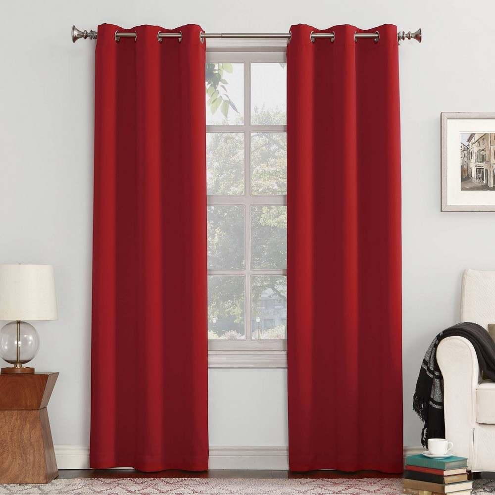 "84""x40"" Kenneth Blackout Energy Efficient Grommet Curtain Panel Red - Sun Zero"