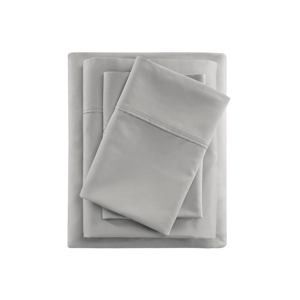 King 400 Thread Count Cotton Sateen Sheet Set Gray from Beautyrest