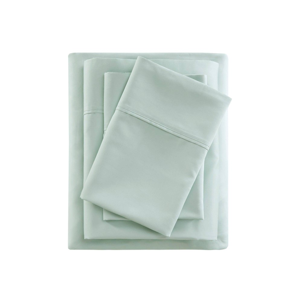 King 400 Thread Count Cotton Sateen Sheet Set Seafoam from Beautyrest
