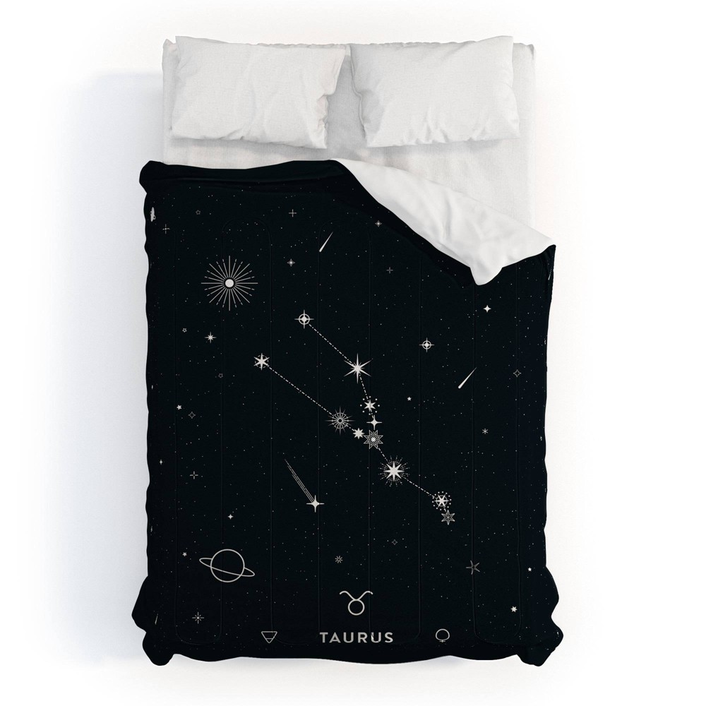 King Cuss Yeah Designs Taurus Star Constellation Comforter Set Black - Deny Designs from Deny Designs