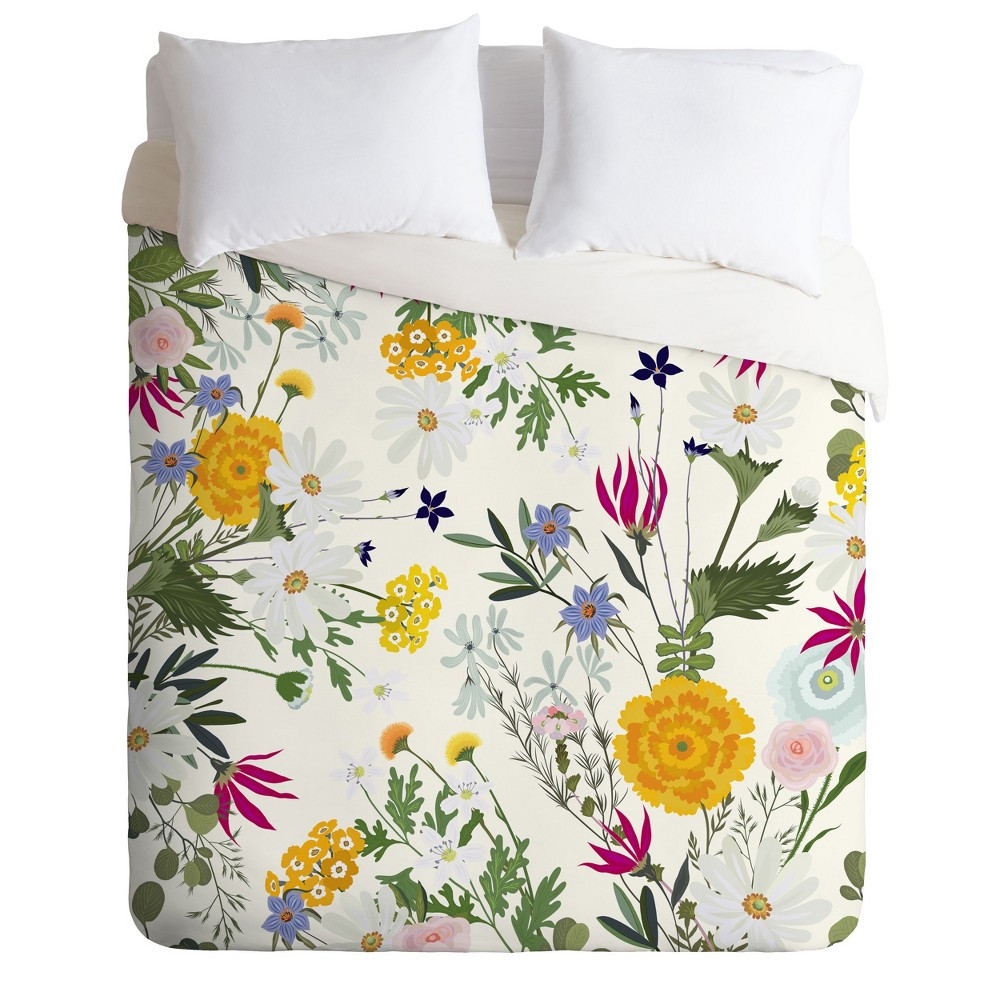 King Iveta Abolina Bretta Duvet Cover Set Yellow - Deny Designs