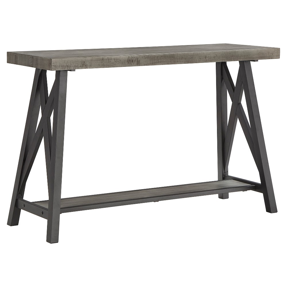 Lanshire Rustic Industrial Metal & Wood Entry Console Table - Gray - Inspire Q from Inspire Q