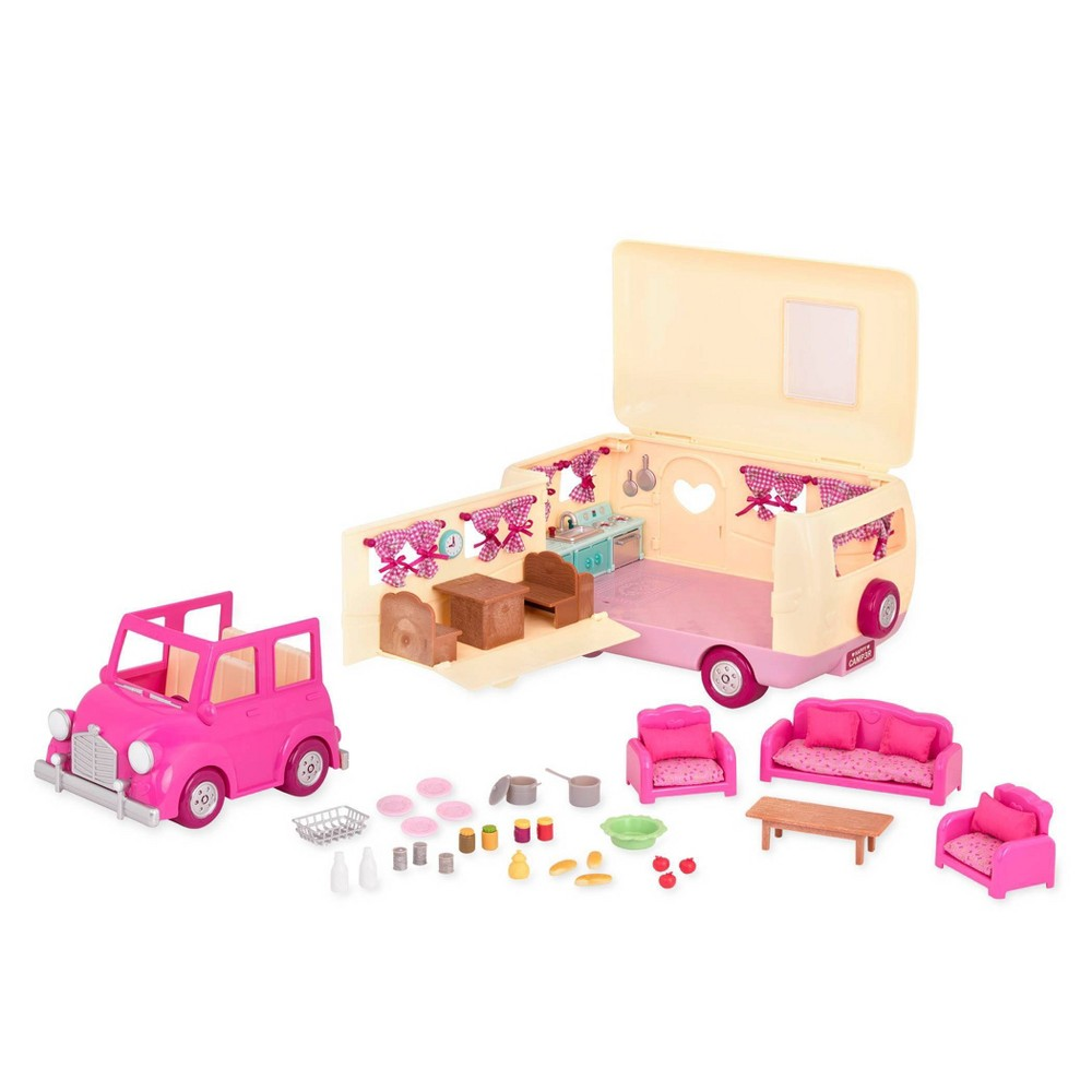 Li'l Woodzeez Camper Playset with Pink Toy Car 40pc - Happy Camper from Li'l Woodzeez