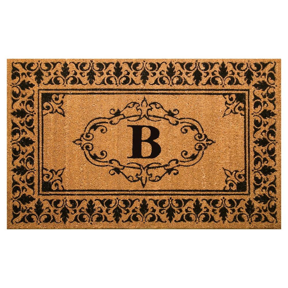 Light Brown Monogram Woven Doormat - (3'x5') - nuLOOM, Light Brown - B