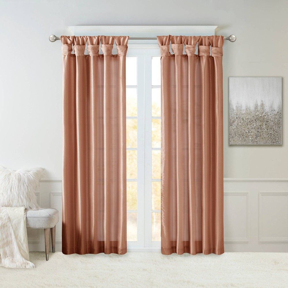 "50""x95"" Lillian Twisted Tab Lined Light Filtering Curtain Panel Orange, Adult Unisex, Size: 50x95"""