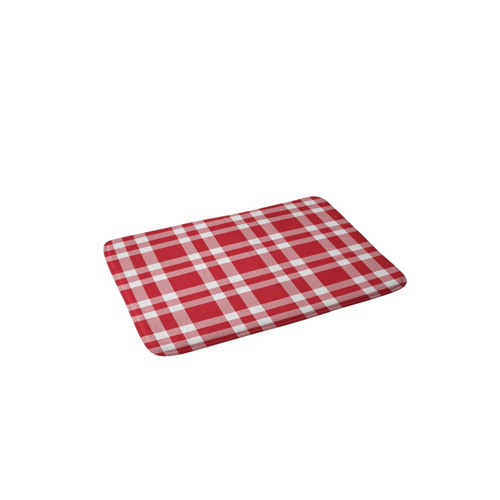 Lisa Argyropoulos Cheery Checks Memory Foam Bath Mat Red - Deny Designs from Deny Designs