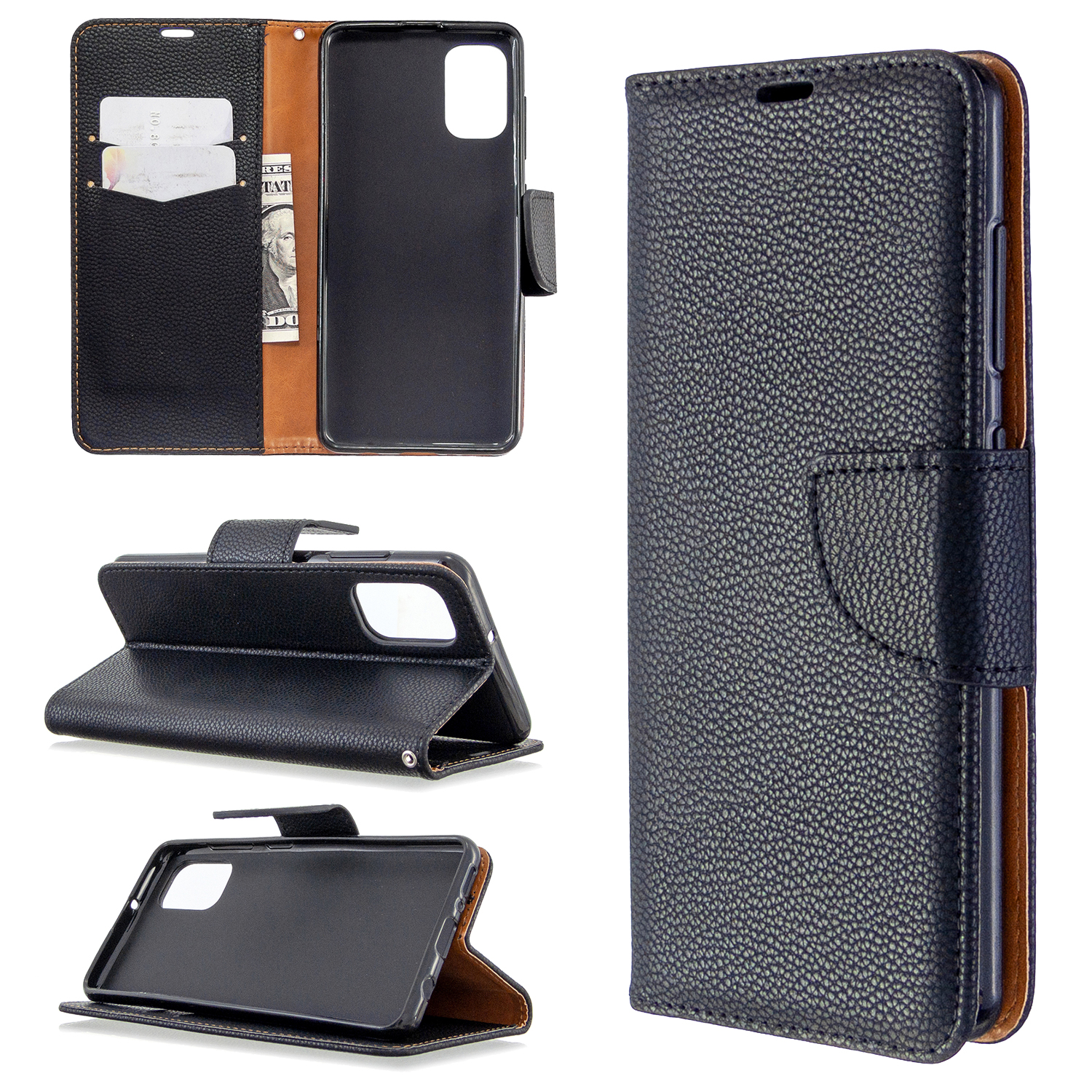 Litchi Skin with Wallet Leather Stand Case for Samsung Galaxy A41 (Global Version) - Black