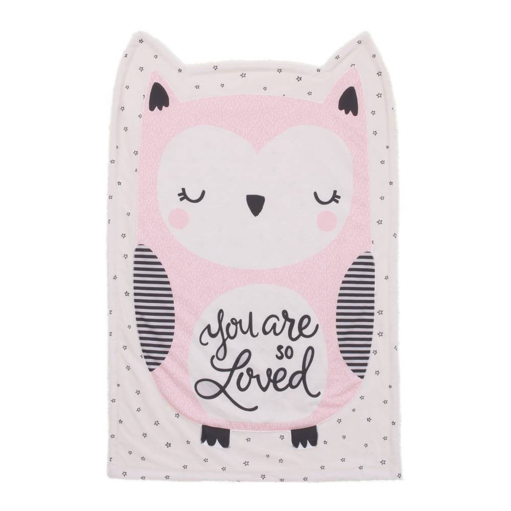 Little Love By NoJo Olivia The Owl Knit Shaped Baby Blanket - Pink/White/Black from NoJo