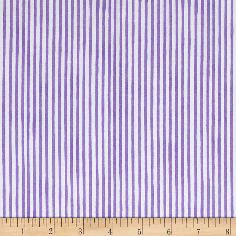 Loralie Designs Vintage Holiday Lazy Stripe Purple Fabric