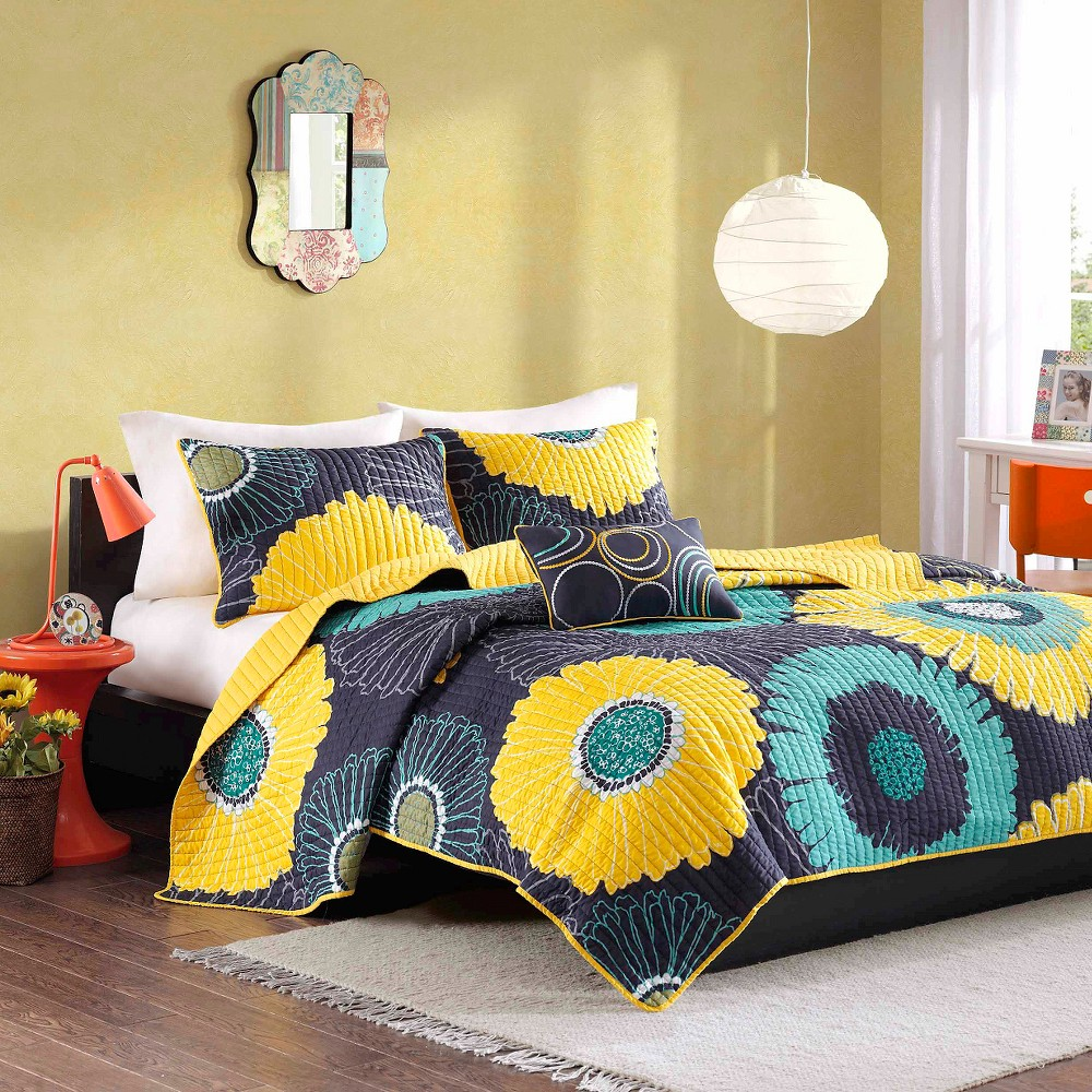 Loretta 3 Piece Quilted Coverlet Set - Yellow (Twin/TXL) from No Brand