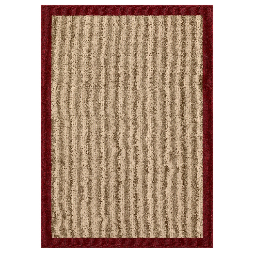 "30""x46"" Madison Border Washable Accent Rug Red - Threshold , Size: 2'6""X3'10""/30""X46"""