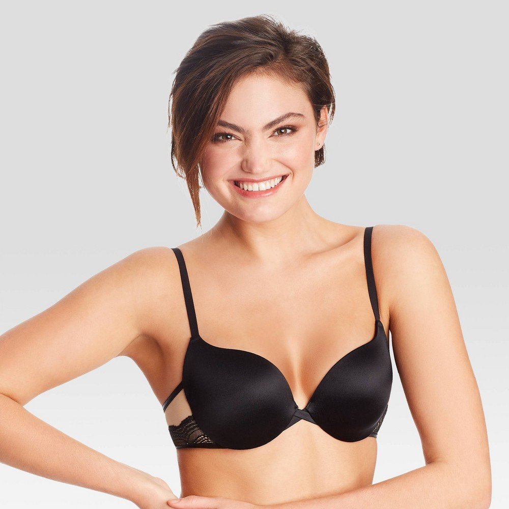 Maidenform Women's Love the Lift Push-Up & In Satin Demi Bra DM9900 - Black/White/Beige 36A from Maidenform
