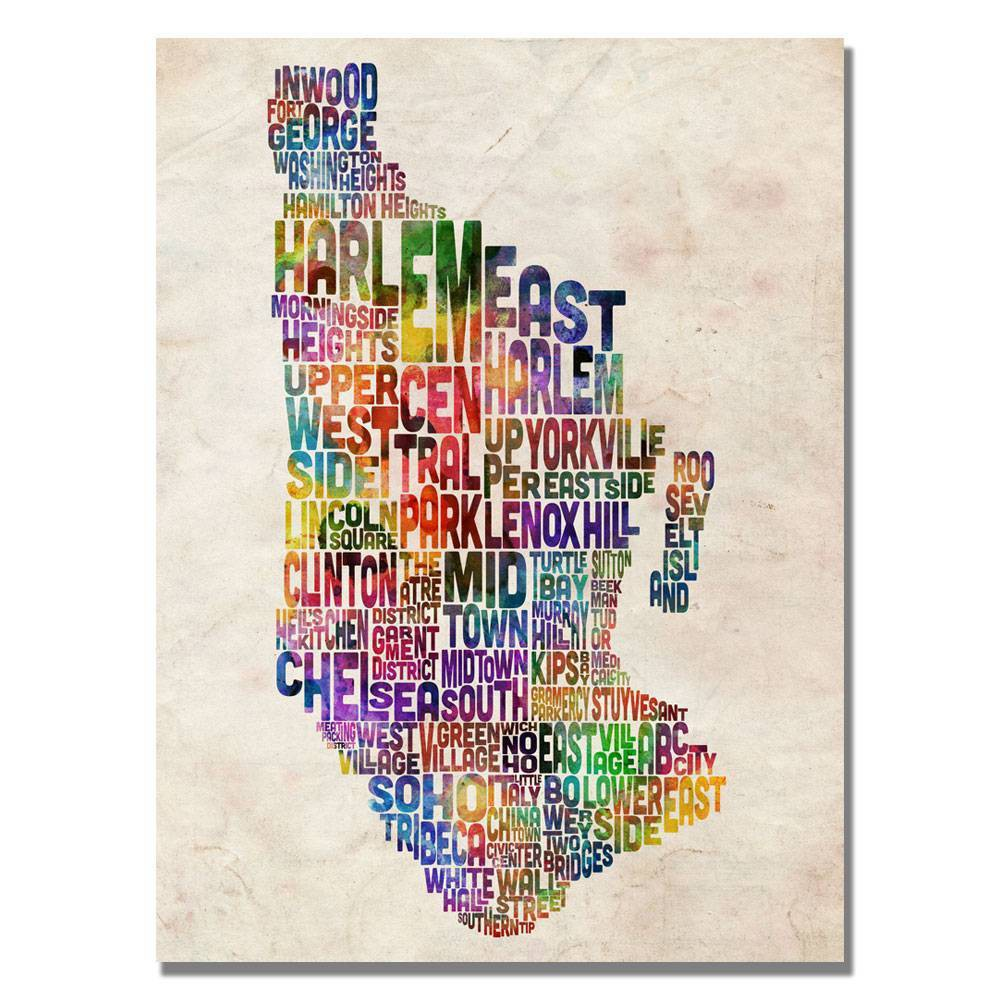 "22"" x 32"" Manhatan Typography Map by Michael Tompsett - Trademark Fine Art from Trademark Global"