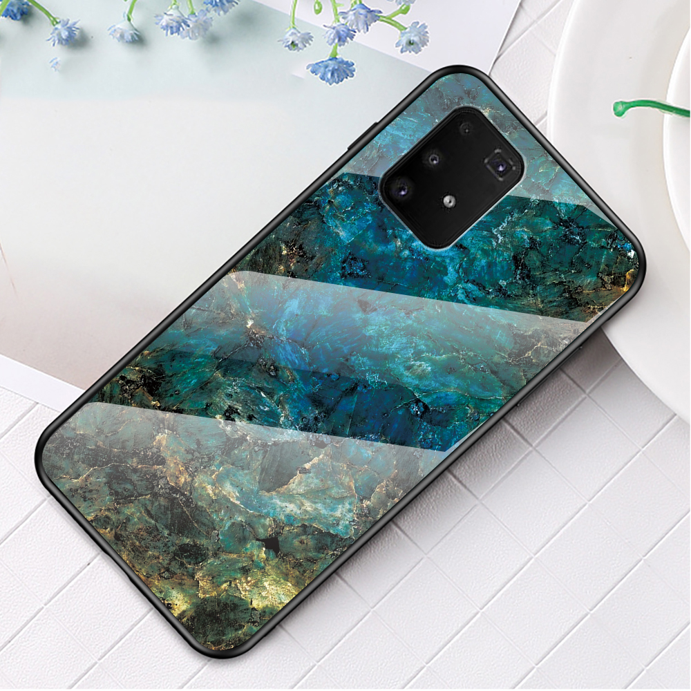 Marble Texture Protection Tempered Glass + PC + TPU Combo Case for Samsung Galaxy A91/S10 Lite - Emerald