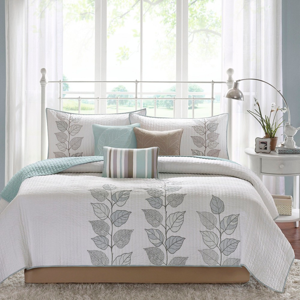 Blue Marissa Quilted Coverlet Set King 6pc from No Brand